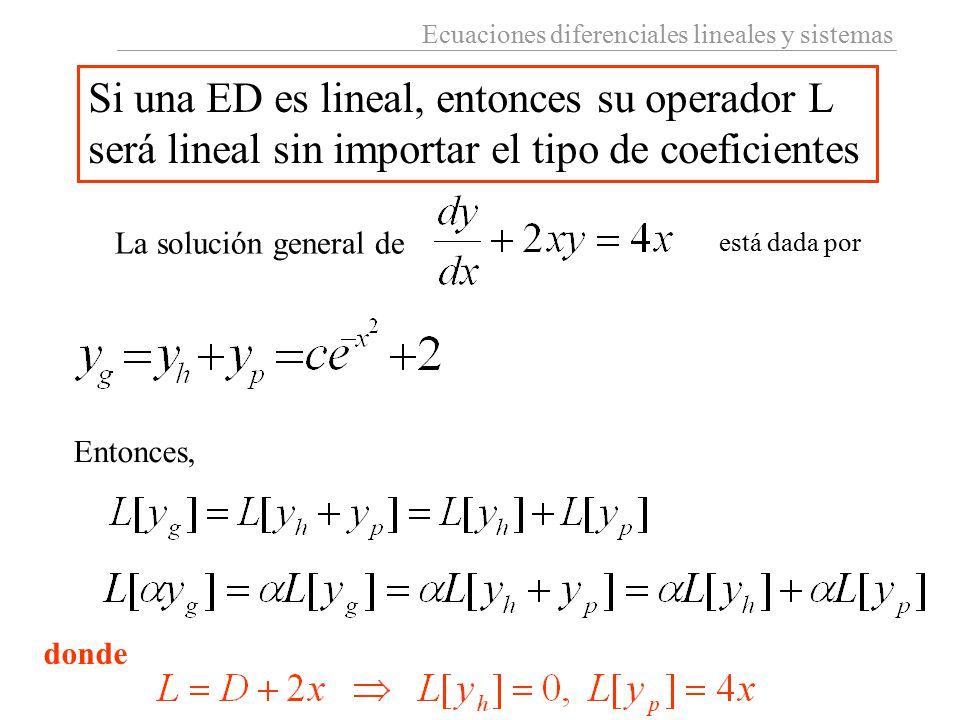 Ecuaciones diferenciales lineales y sistemas Si una ED es lineal, entonces su operador L será lineal sin importar el tipo de coeficientes La solución