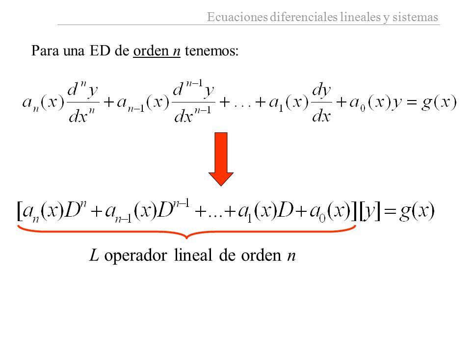 Ecuaciones diferenciales lineales y sistemas Para una ED de orden n tenemos: L operador lineal de orden n
