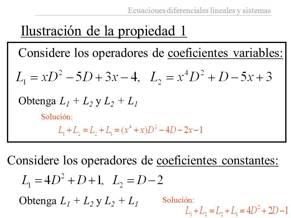 Ecuaciones diferenciales lineales y sistemas Ilustración de la propiedad 1 Considere los operadores de coeficientes variables: Obtenga L 1 + L 2 y L 2