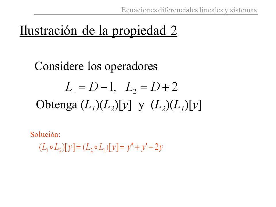 Ecuaciones diferenciales lineales y sistemas Considere los operadores Obtenga (L 1 )(L 2 )[y] y (L 2 )(L 1 )[y] Ilustración de la propiedad 2 Solución