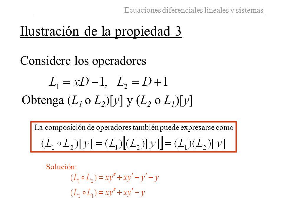 Ecuaciones diferenciales lineales y sistemas Ilustración de la propiedad 3 Considere los operadores Obtenga (L 1 o L 2 )[y] y (L 2 o L 1 )[y] Solución
