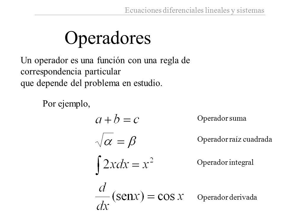 Ecuaciones diferenciales lineales y sistemas Operadores Un operador es una función con una regla de correspondencia particular que depende del problem