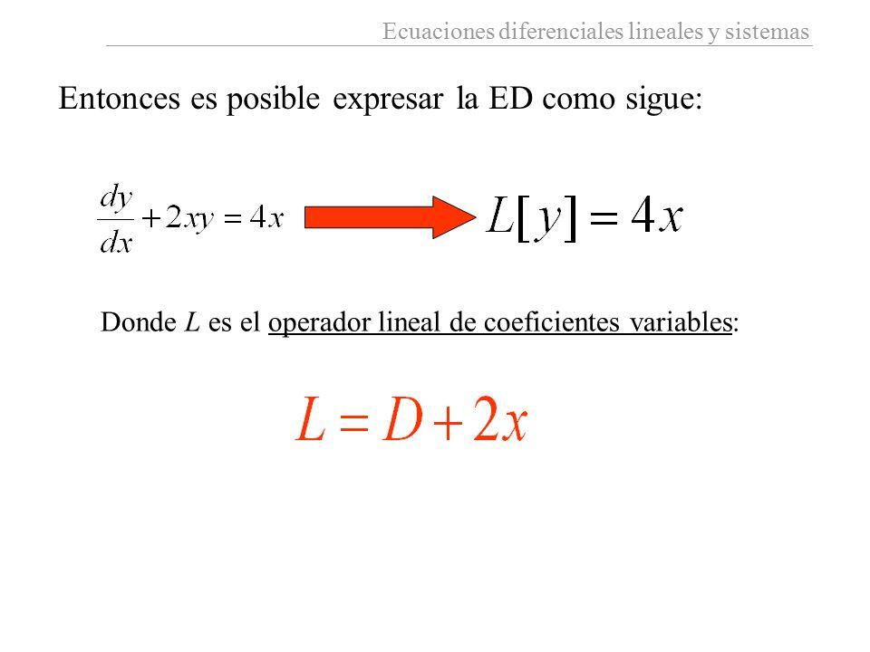 Ecuaciones diferenciales lineales y sistemas Entonces es posible expresar la ED como sigue: Donde L es el operador lineal de coeficientes variables: