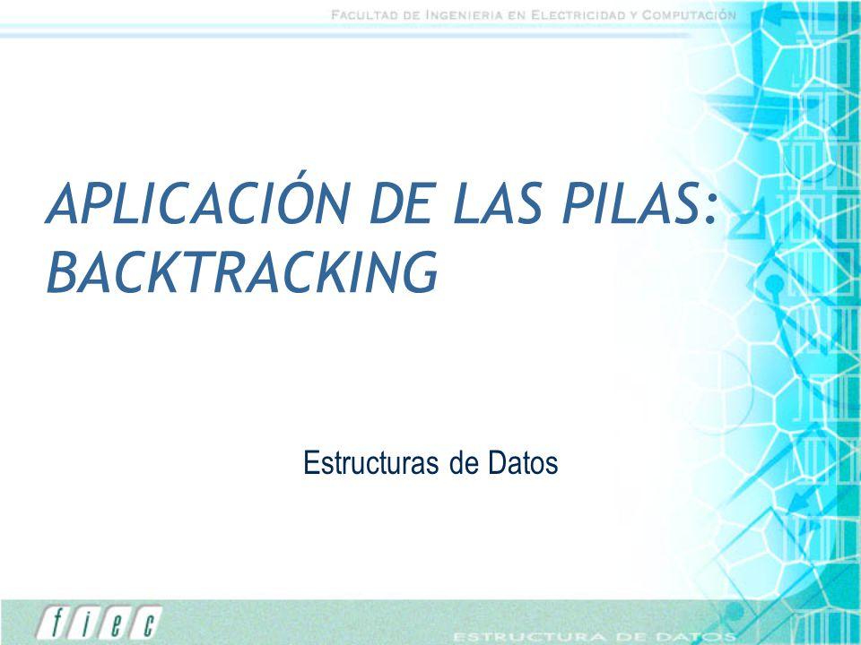 APLICACIÓN DE LAS PILAS: BACKTRACKING Estructuras de Datos