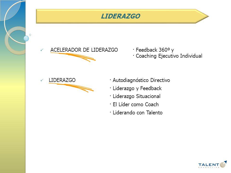 ACELERADOR DE LIDERAZGO· Feedback 360º y · Coaching Ejecutivo Individual LIDERAZGO· Autodiagnóstico Directivo · Liderazgo y Feedback · Liderazgo Situacional · El Líder como Coach · Liderando con Talento LIDERAZGO