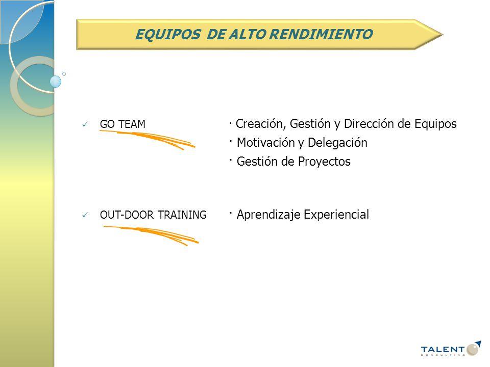 GO TEAM· Creación, Gestión y Dirección de Equipos · Motivación y Delegación · Gestión de Proyectos OUT-DOOR TRAINING · Aprendizaje Experiencial EQUIPOS DE ALTO RENDIMIENTO