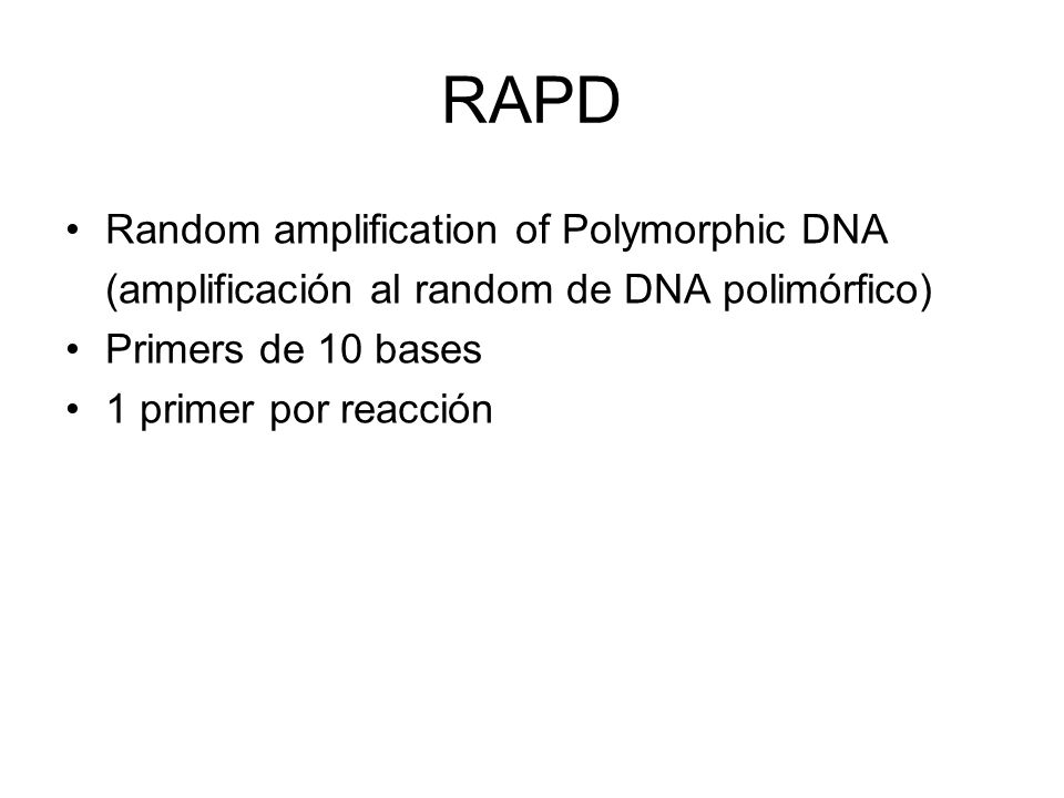 RAPD Random amplification of Polymorphic DNA (amplificación al random de DNA polimórfico) Primers de 10 bases 1 primer por reacción