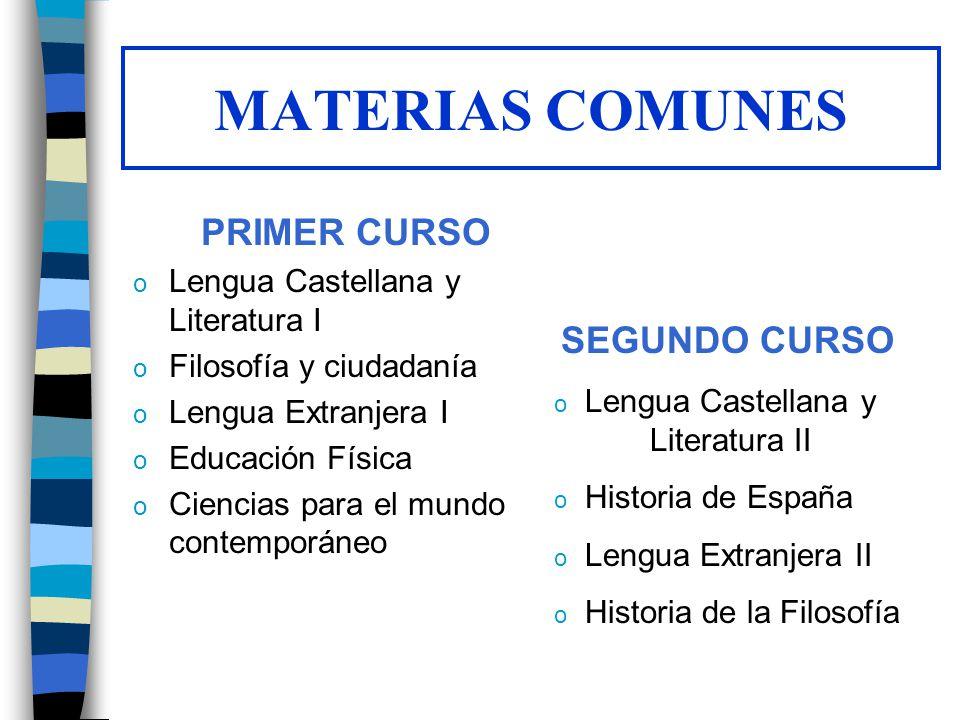 MATERIAS COMUNES PRIMER CURSO o Lengua Castellana y Literatura I o Filosofía y ciudadanía o Lengua Extranjera I o Educación Física o Ciencias para el