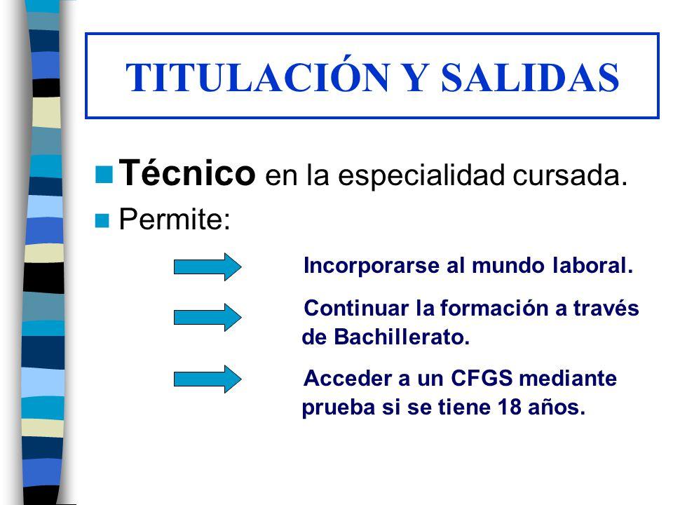 TITULACIÓN Y SALIDAS Técnico en la especialidad cursada. Permite: Incorporarse al mundo laboral. Continuar la formación a través de Bachillerato. Acce