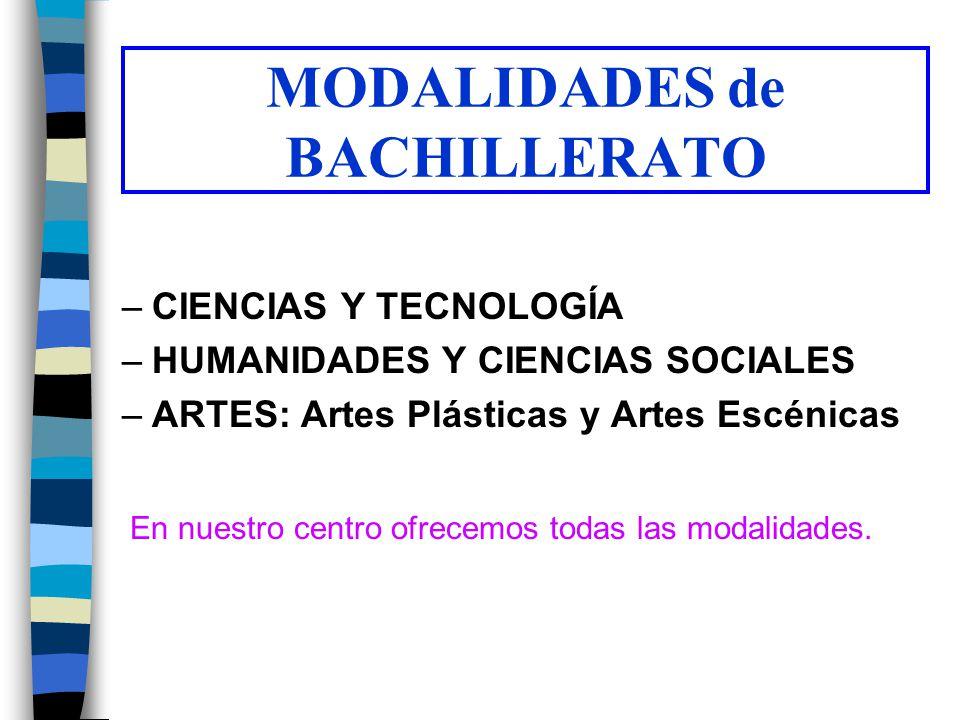 MODALIDADES de BACHILLERATO –CIENCIAS Y TECNOLOGÍA –HUMANIDADES Y CIENCIAS SOCIALES –ARTES: Artes Plásticas y Artes Escénicas En nuestro centro ofrece