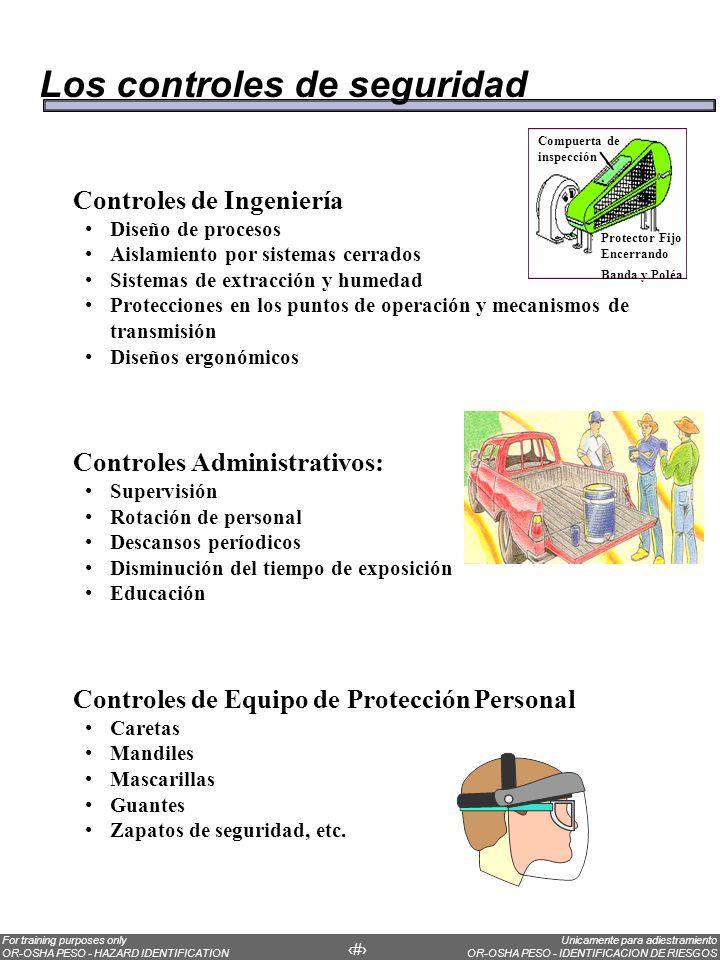 Unicamente para adiestramiento OR-OSHA PESO - IDENTIFICACION DE RIESGOS For training purposes only OR-OSHA PESO - HAZARD IDENTIFICATION 13 Controles d