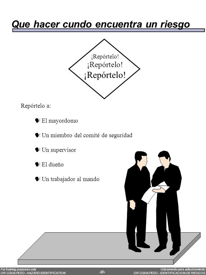Unicamente para adiestramiento OR-OSHA PESO - IDENTIFICACION DE RIESGOS For training purposes only OR-OSHA PESO - HAZARD IDENTIFICATION 15 ¡Repórtelo!