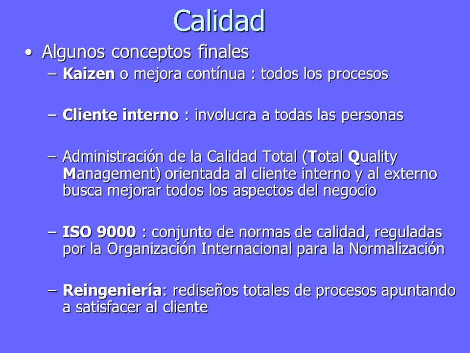 Calidad Algunos conceptos finalesAlgunos conceptos finales –Kaizen o mejora contínua : todos los procesos –Cliente interno : involucra a todas las personas –Administración de la Calidad Total (Total Quality Management) orientada al cliente interno y al externo busca mejorar todos los aspectos del negocio –ISO 9000 : conjunto de normas de calidad, reguladas por la Organización Internacional para la Normalización –Reingeniería: rediseños totales de procesos apuntando a satisfacer al cliente