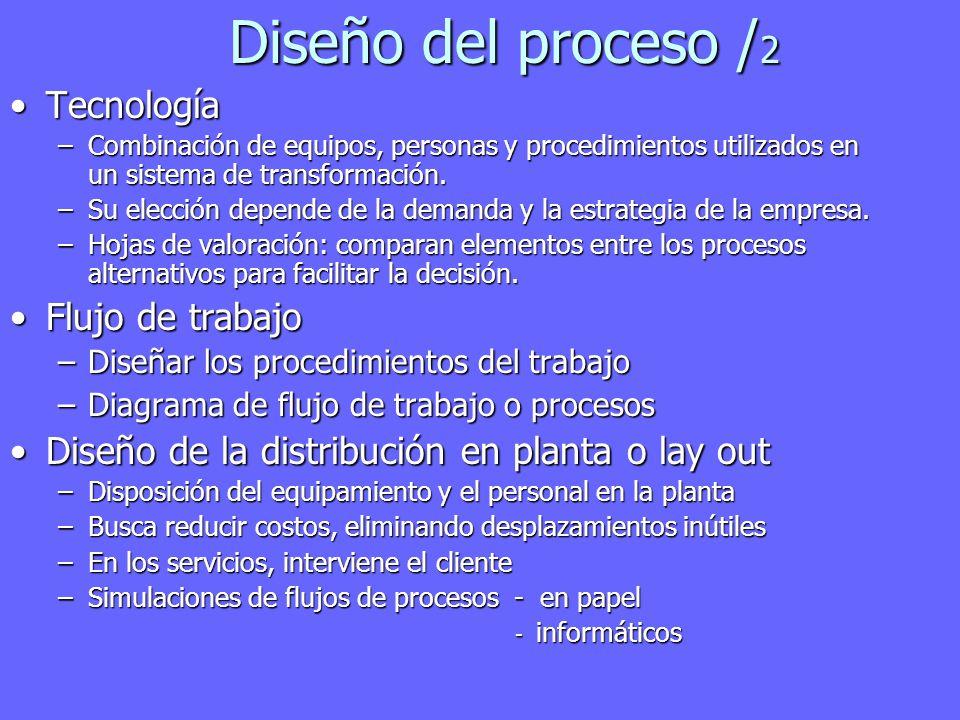 Diseño del proceso / 2 TecnologíaTecnología –Combinación de equipos, personas y procedimientos utilizados en un sistema de transformación.