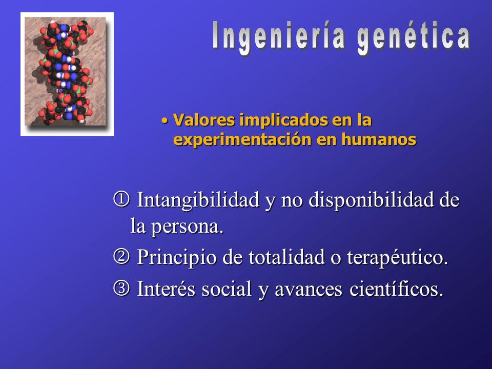 Valores implicados en la experimentación en humanosValores implicados en la experimentación en humanos  Intangibilidad y no disponibilidad de la persona.