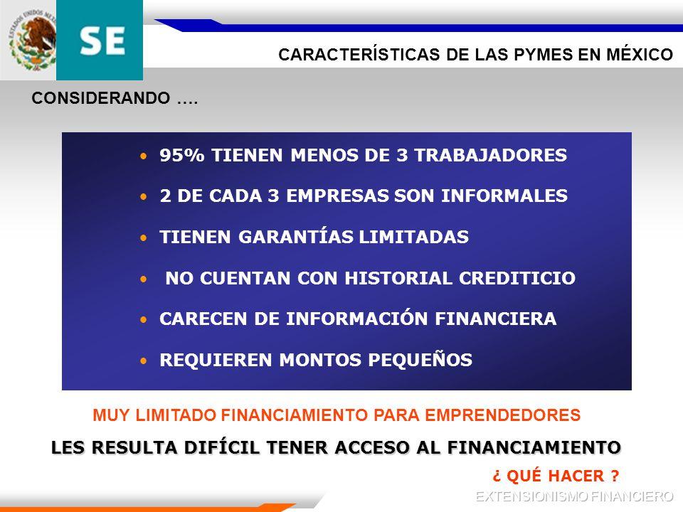 CARACTERÍSTICAS DE LAS PYMES EN MÉXICO 95% TIENEN MENOS DE 3 TRABAJADORES 2 DE CADA 3 EMPRESAS SON INFORMALES TIENEN GARANTÍAS LIMITADAS NO CUENTAN CON HISTORIAL CREDITICIO CARECEN DE INFORMACIÓN FINANCIERA REQUIEREN MONTOS PEQUEÑOS CONSIDERANDO ….