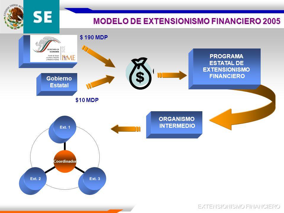 MODELO DE EXTENSIONISMO FINANCIERO 2005 Gobierno Estatal PROGRAMA ESTATAL DE EXTENSIONISMO FINANCIERO Coordinador Ext.