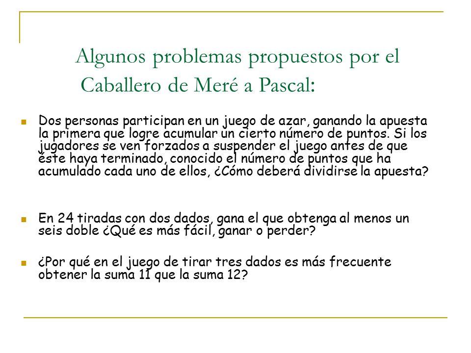Estos problemas permitieron establecer a Pascal correspondencia con otros matemáticos, como Pierre de Fermat.