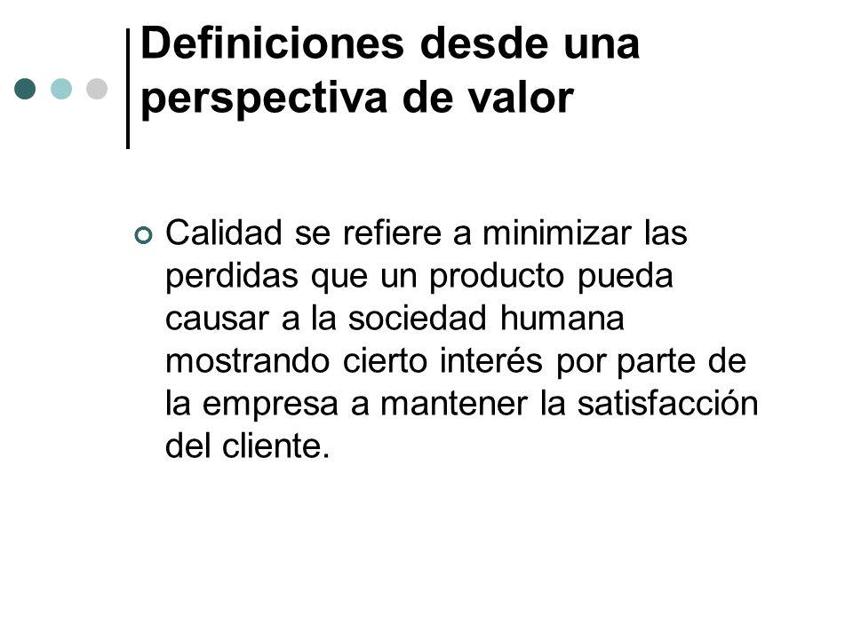 Definiciones desde una perspectiva de valor Calidad se refiere a minimizar las perdidas que un producto pueda causar a la sociedad humana mostrando cierto interés por parte de la empresa a mantener la satisfacción del cliente.