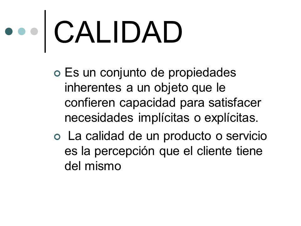 CALIDAD Es un conjunto de propiedades inherentes a un objeto que le confieren capacidad para satisfacer necesidades implícitas o explícitas.