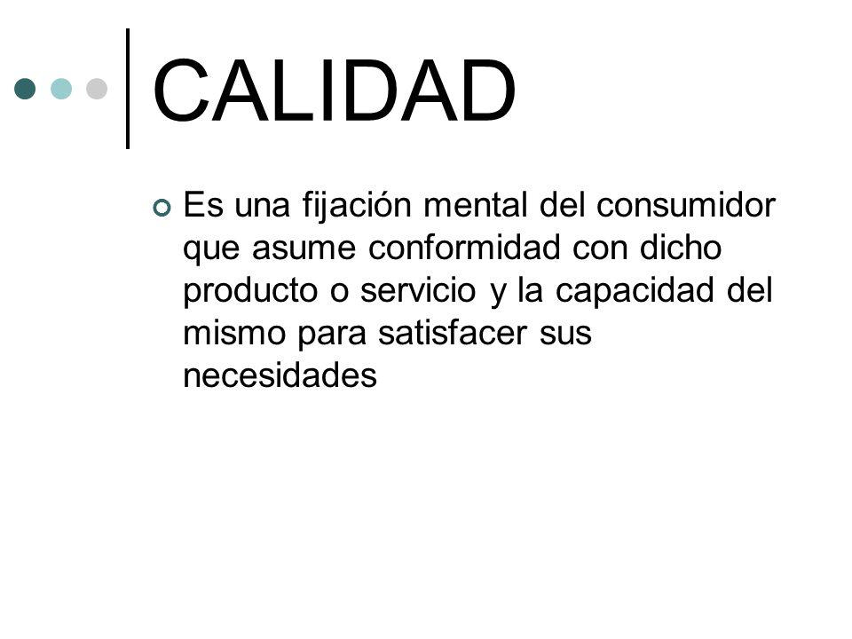 CALIDAD Es una fijación mental del consumidor que asume conformidad con dicho producto o servicio y la capacidad del mismo para satisfacer sus necesidades