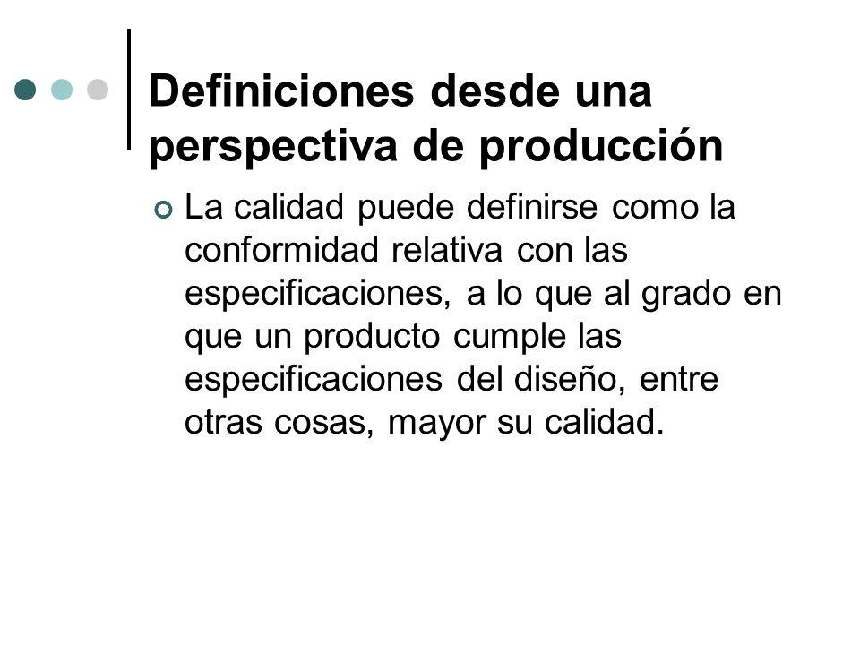 Definiciones desde una perspectiva de producción La calidad puede definirse como la conformidad relativa con las especificaciones, a lo que al grado en que un producto cumple las especificaciones del diseño, entre otras cosas, mayor su calidad.