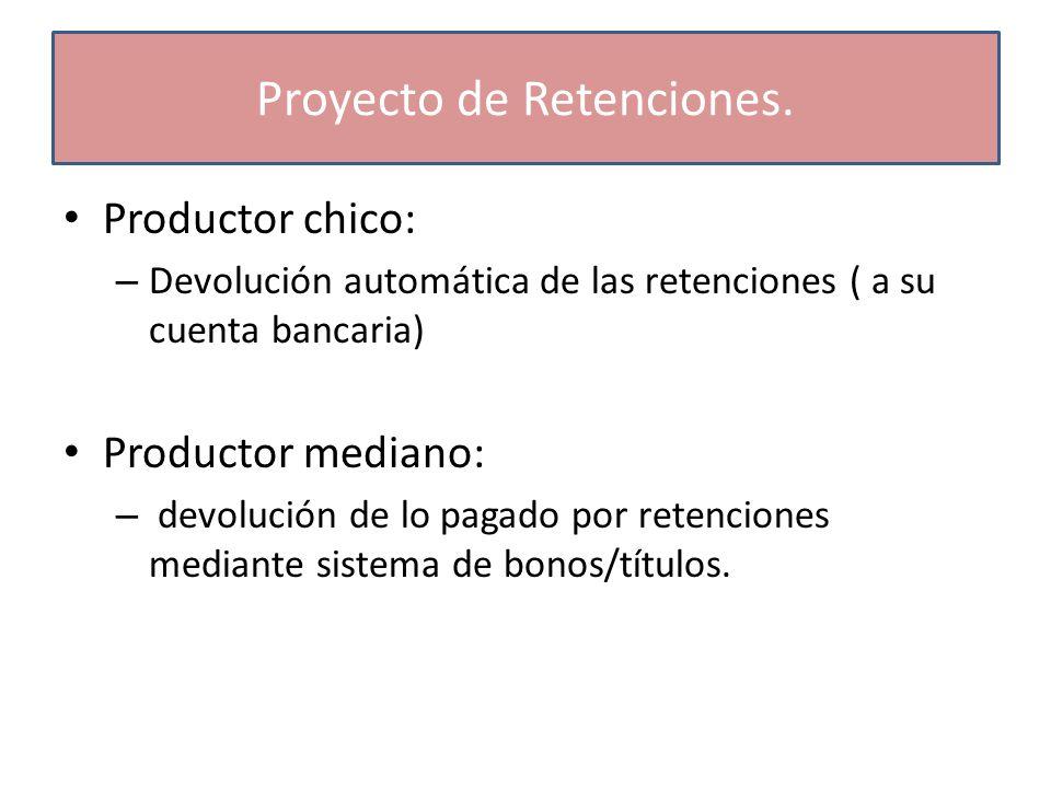 Productor chico: – Devolución automática de las retenciones ( a su cuenta bancaria) Productor mediano: – devolución de lo pagado por retenciones mediante sistema de bonos/títulos.