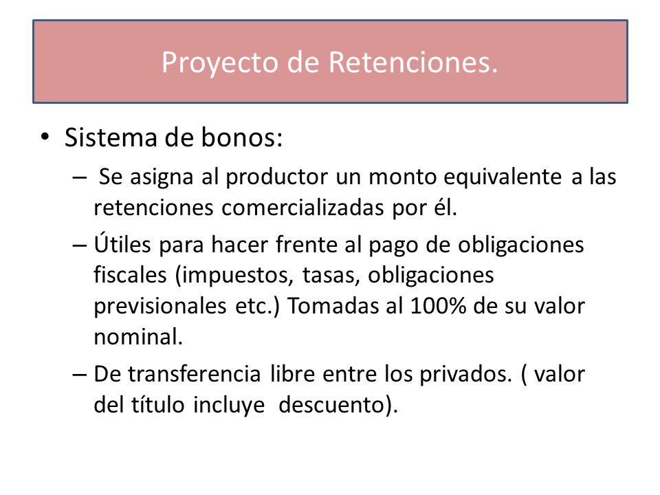 Sistema de bonos: – Se asigna al productor un monto equivalente a las retenciones comercializadas por él.
