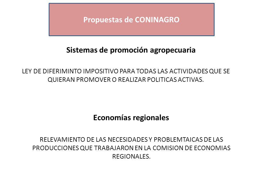 Economías Regionales Propuestas de CONINAGRO Sistemas de promoción agropecuaria LEY DE DIFERIMINTO IMPOSITIVO PARA TODAS LAS ACTIVIDADES QUE SE QUIERAN PROMOVER O REALIZAR POLITICAS ACTIVAS.
