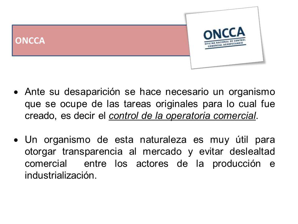ONCCA  Ante su desaparición se hace necesario un organismo que se ocupe de las tareas originales para lo cual fue creado, es decir el control de la operatoria comercial.