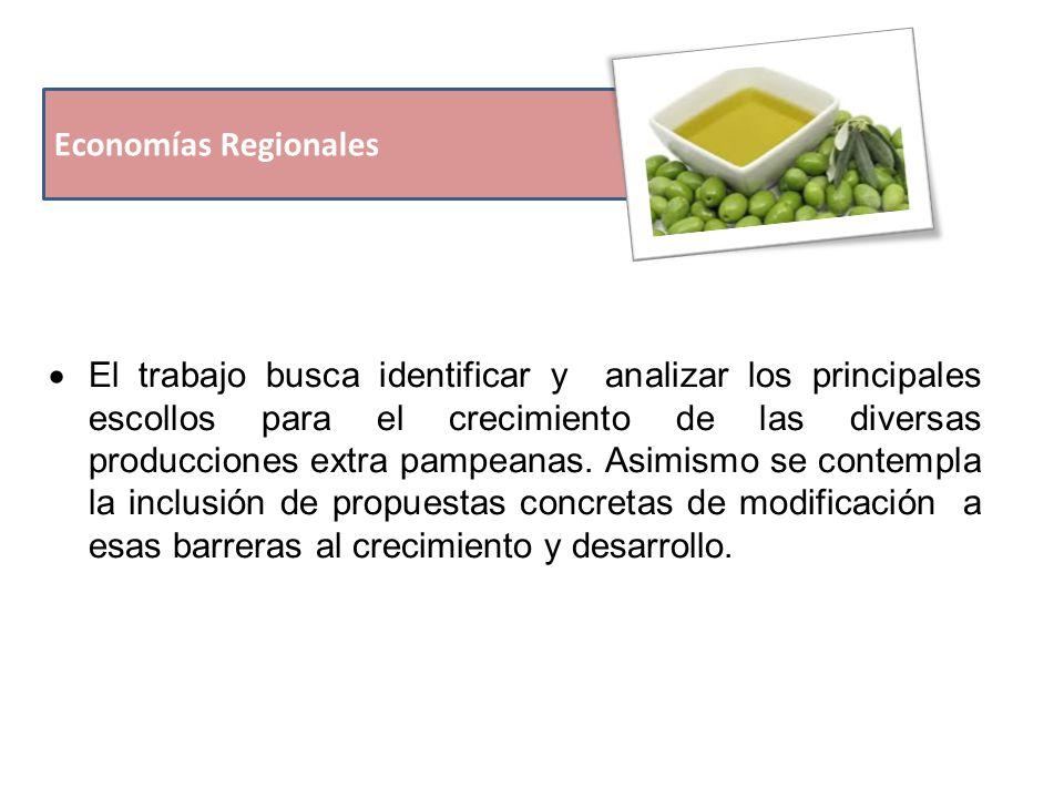 Economías Regionales  El trabajo busca identificar y analizar los principales escollos para el crecimiento de las diversas producciones extra pampeanas.