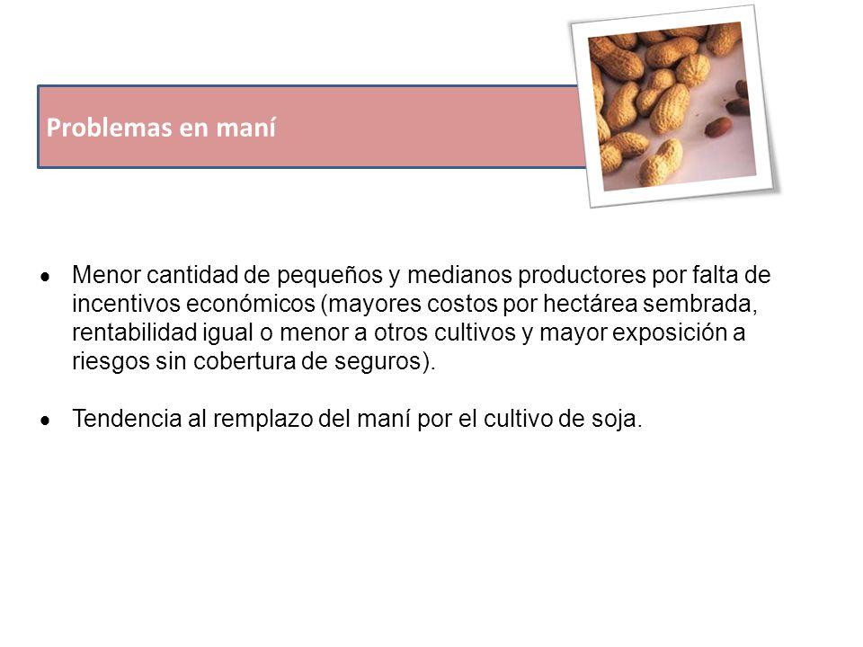 Problemas en maní  Menor cantidad de pequeños y medianos productores por falta de incentivos económicos (mayores costos por hectárea sembrada, rentabilidad igual o menor a otros cultivos y mayor exposición a riesgos sin cobertura de seguros).