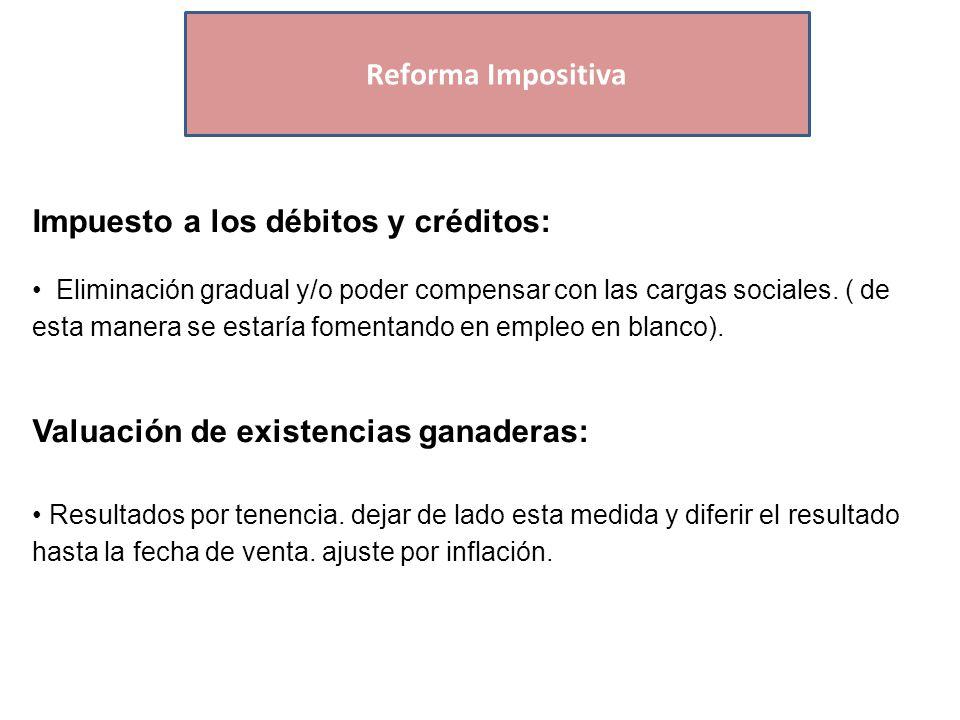 Economías Regionales Impuesto a los débitos y créditos: Eliminación gradual y/o poder compensar con las cargas sociales.