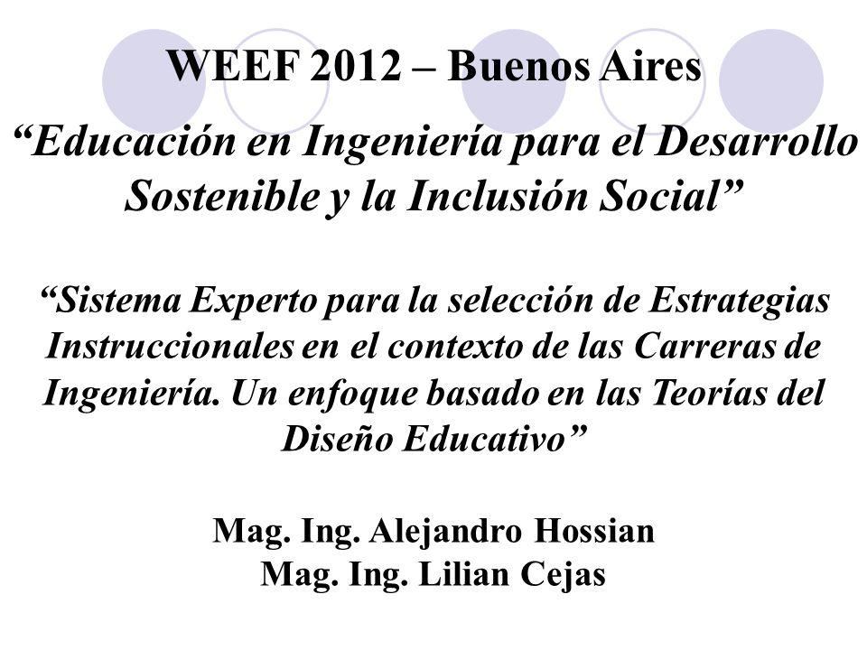 """Mag. Ing. Alejandro Hossian Mag. Ing. Lilian Cejas WEEF 2012 – Buenos Aires """"Educación en Ingeniería para el Desarrollo Sostenible y la Inclusión Soci"""