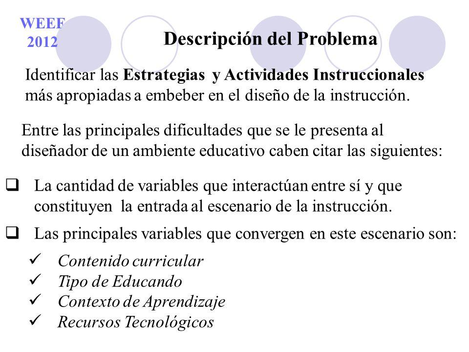 WEEF 2012 Descripción del Problema Entre las principales dificultades que se le presenta al diseñador de un ambiente educativo caben citar las siguien