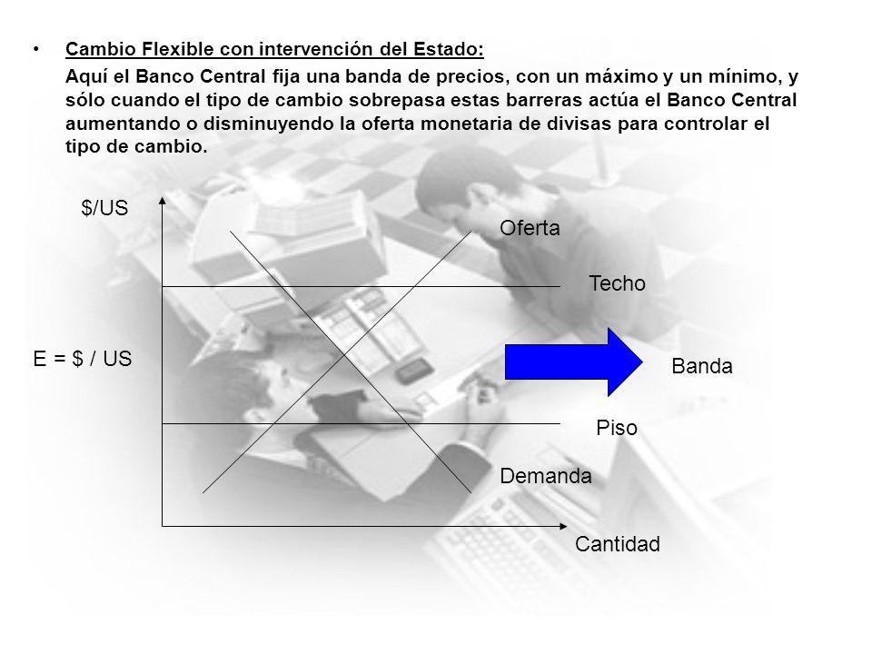 En el caso de Chile Chile tiene un tipo de cambio flexible con intervención del Estado y flotación sucia: lo que quiere decir esto es que sólo el Banco Central es quien conoce la banda de precios, e interviene solo cuando lo encuentra necesario.