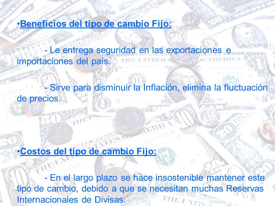 Beneficios del tipo de cambio Fijo: - Le entrega seguridad en las exportaciones e importaciones del país.