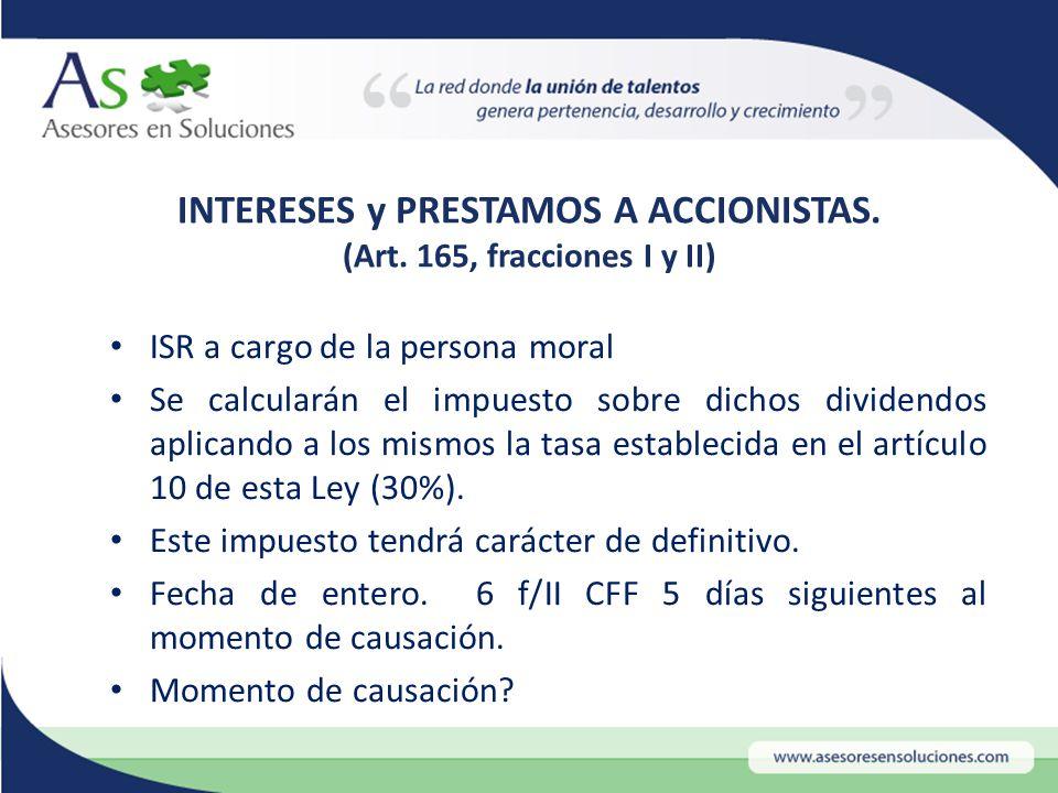 INTERESES y PRESTAMOS A ACCIONISTAS. (Art.