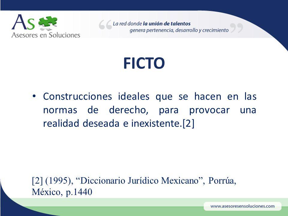 FICTO Construcciones ideales que se hacen en las normas de derecho, para provocar una realidad deseada e inexistente.[2] [2] (1995), Diccionario Jurídico Mexicano , Porrúa, México, p.1440