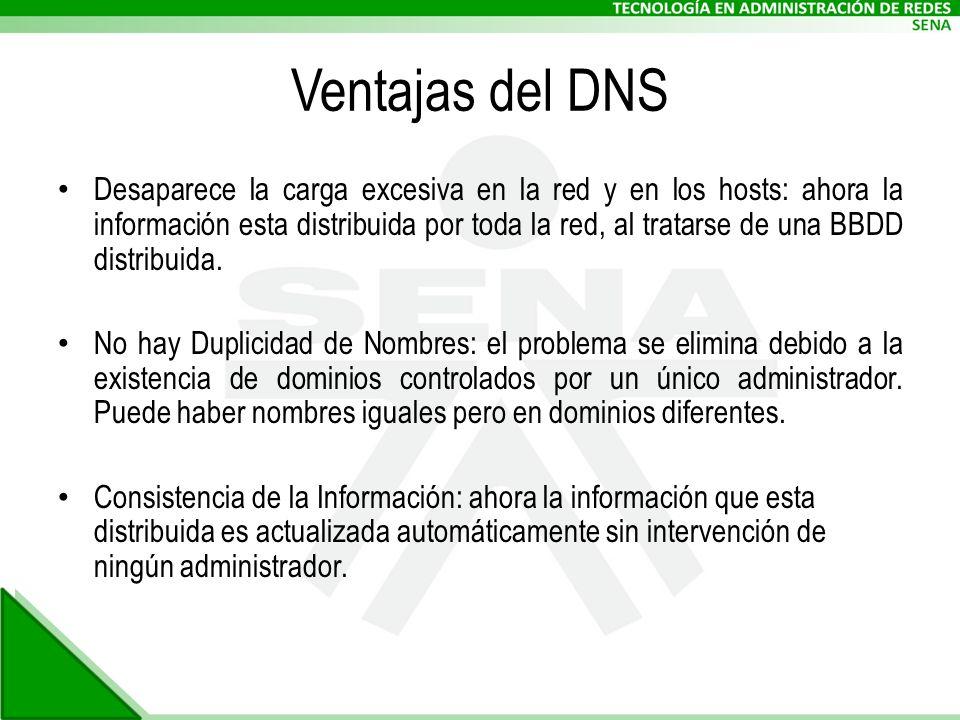 Ventajas del DNS Desaparece la carga excesiva en la red y en los hosts: ahora la información esta distribuida por toda la red, al tratarse de una BBDD distribuida.