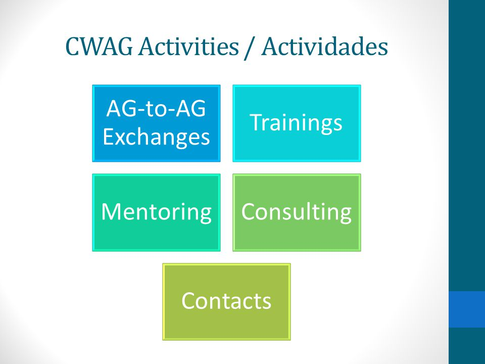 Key Successes and Highlights Since the CWAG Alliance Partnership began capacity building trainings in 2008, over 12,000 members of the law enforcement and legal communities in Mexico have participated.