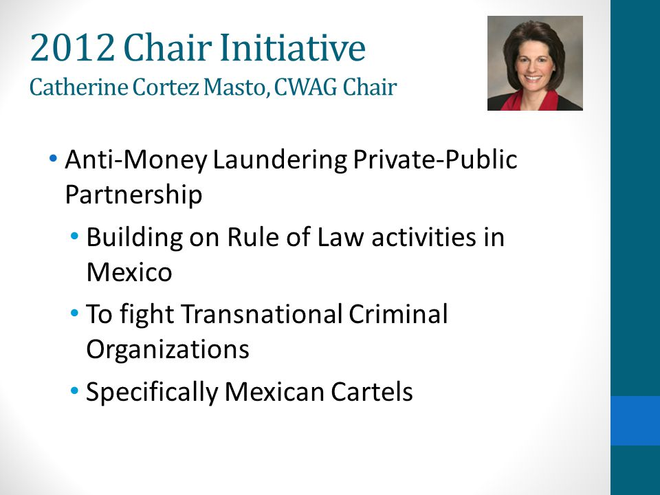 Money Laundering DrugsArmsCounterfeiting Human Trafficking Extortion 2012 Chair Initiative AML Private-Public Partnership