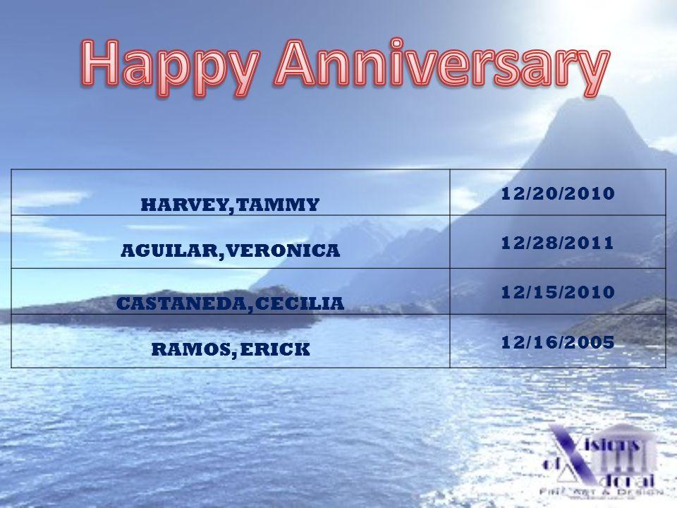 HARVEY, TAMMY 12/20/2010 AGUILAR, VERONICA 12/28/2011 CASTANEDA, CECILIA 12/15/2010 RAMOS, ERICK 12/16/2005