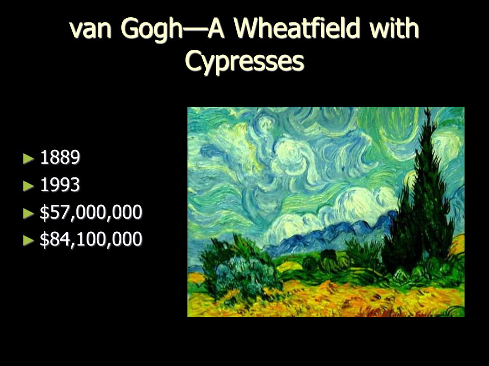 van Gogh—A Wheatfield with Cypresses ► 1889 ► 1993 ► $57,000,000 ► $84,100,000