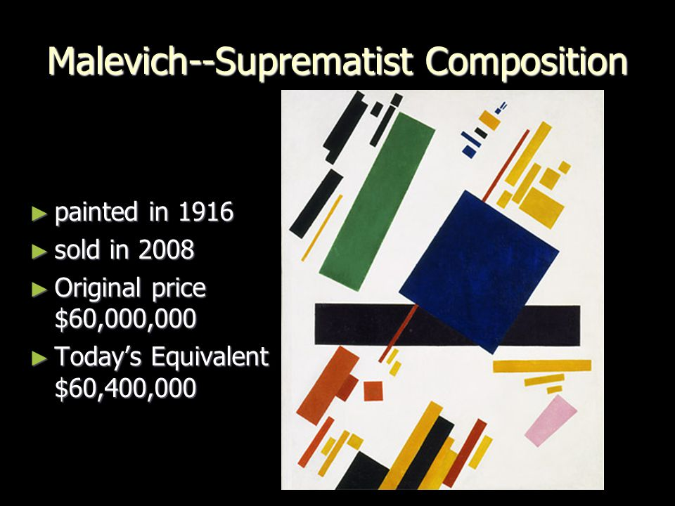 Malevich--Suprematist Composition ► painted in 1916 ► sold in 2008 ► Original price $60,000,000 ► Today's Equivalent $60,400,000