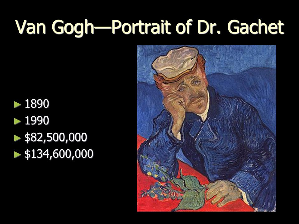 Van Gogh—Portrait of Dr. Gachet ► 1890 ► 1990 ► $82,500,000 ► $134,600,000