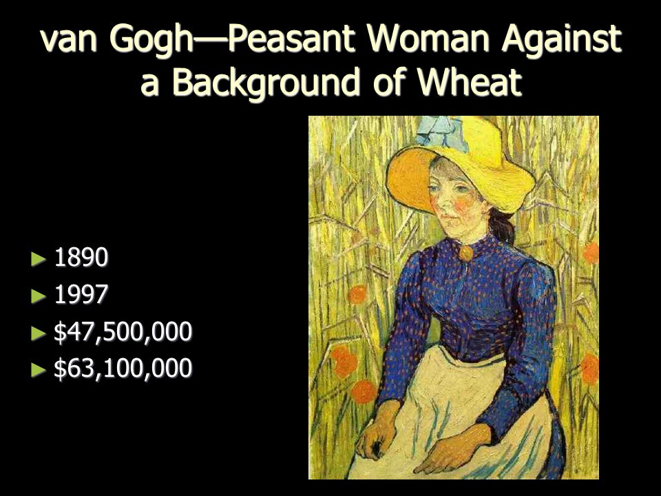 van Gogh—Peasant Woman Against a Background of Wheat ► 1890 ► 1997 ► $47,500,000 ► $63,100,000