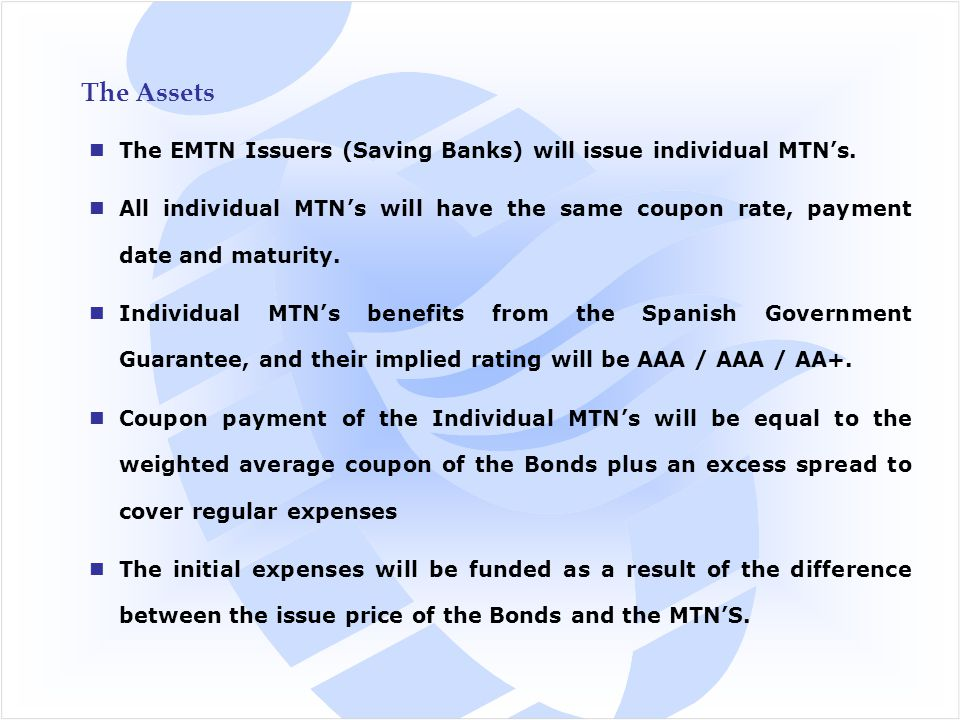 The Assets The EMTN Issuers (Saving Banks) will issue individual MTN's.