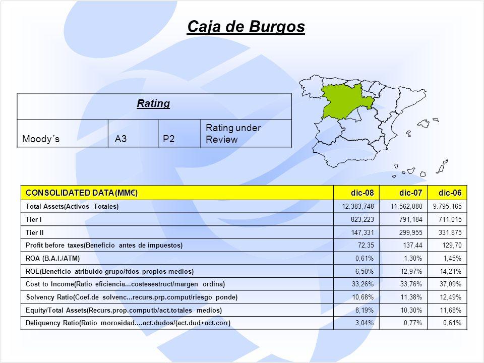 Caja de Burgos Rating Moody´s A3P2 Rating under Review CONSOLIDATED DATA (MM€) dic-08dic-07dic-06 Total Assets(Activos Totales)12.383,74811.562,0809.795,165 Tier I823,223791,184711,015 Tier II147,331299,955331,875 Profit before taxes(Beneficio antes de impuestos)72,35137,44129,70 ROA (B.A.I./ATM)0,61%1,30%1,45% ROE(Beneficio atribuido grupo/fdos propios medios)6,50%12,97%14,21% Cost to Income(Ratio eficiencia...costesestruct/margen ordina)33,26%33,76%37,09% Solvency Ratio(Coef.de solvenc...recurs.prp.comput/riesgo ponde)10,68%11,38%12,49% Equity/Total Assets(Recurs.prop.computb/act.totales medios)8,19%10,30%11,68% Deliquency Ratio(Ratio morosidad....act.dudos/(act.dud+act.corr)3,04%0,77%0,61%