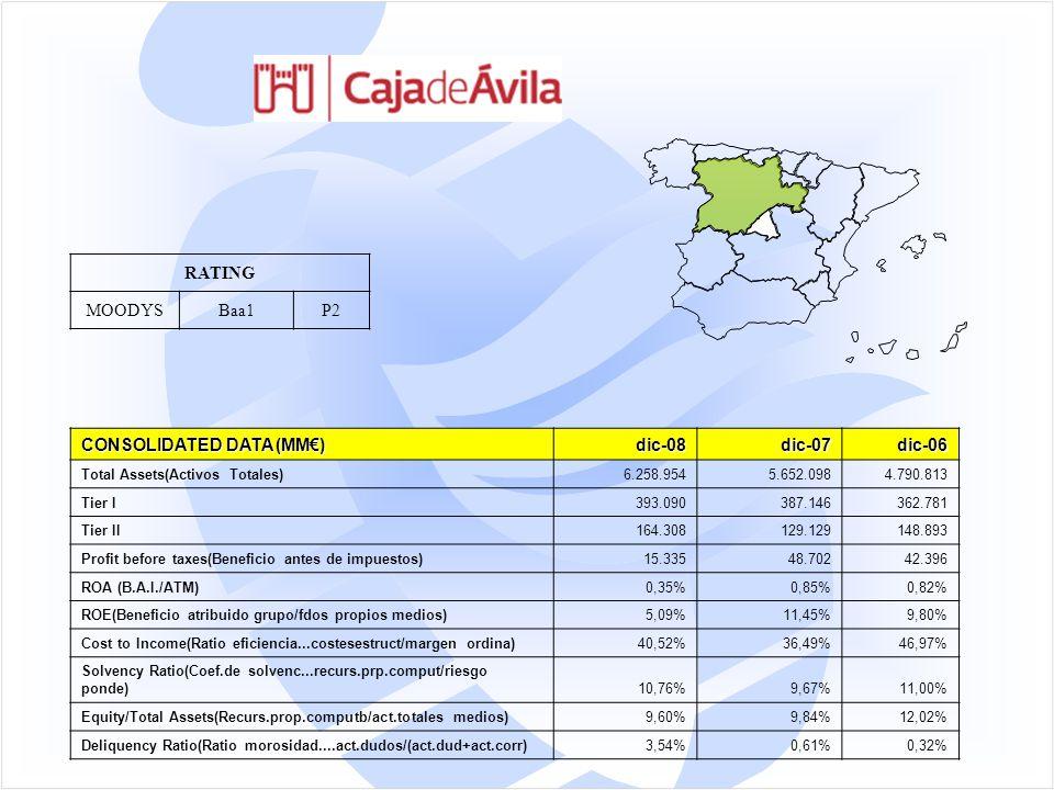 RATING MOODYSBaa1P2 CONSOLIDATED DATA (MM€) dic-08dic-07dic-06 Total Assets(Activos Totales)6.258.9545.652.0984.790.813 Tier I393.090387.146362.781 Tier II164.308129.129148.893 Profit before taxes(Beneficio antes de impuestos)15.33548.70242.396 ROA (B.A.I./ATM)0,35%0,85%0,82% ROE(Beneficio atribuido grupo/fdos propios medios)5,09%11,45%9,80% Cost to Income(Ratio eficiencia...costesestruct/margen ordina)40,52%36,49%46,97% Solvency Ratio(Coef.de solvenc...recurs.prp.comput/riesgo ponde)10,76%9,67%11,00% Equity/Total Assets(Recurs.prop.computb/act.totales medios)9,60%9,84%12,02% Deliquency Ratio(Ratio morosidad....act.dudos/(act.dud+act.corr)3,54%0,61%0,32%